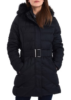 Barbour Waylite Quilted Hooded Puffer Coat with Faux Fur Trim