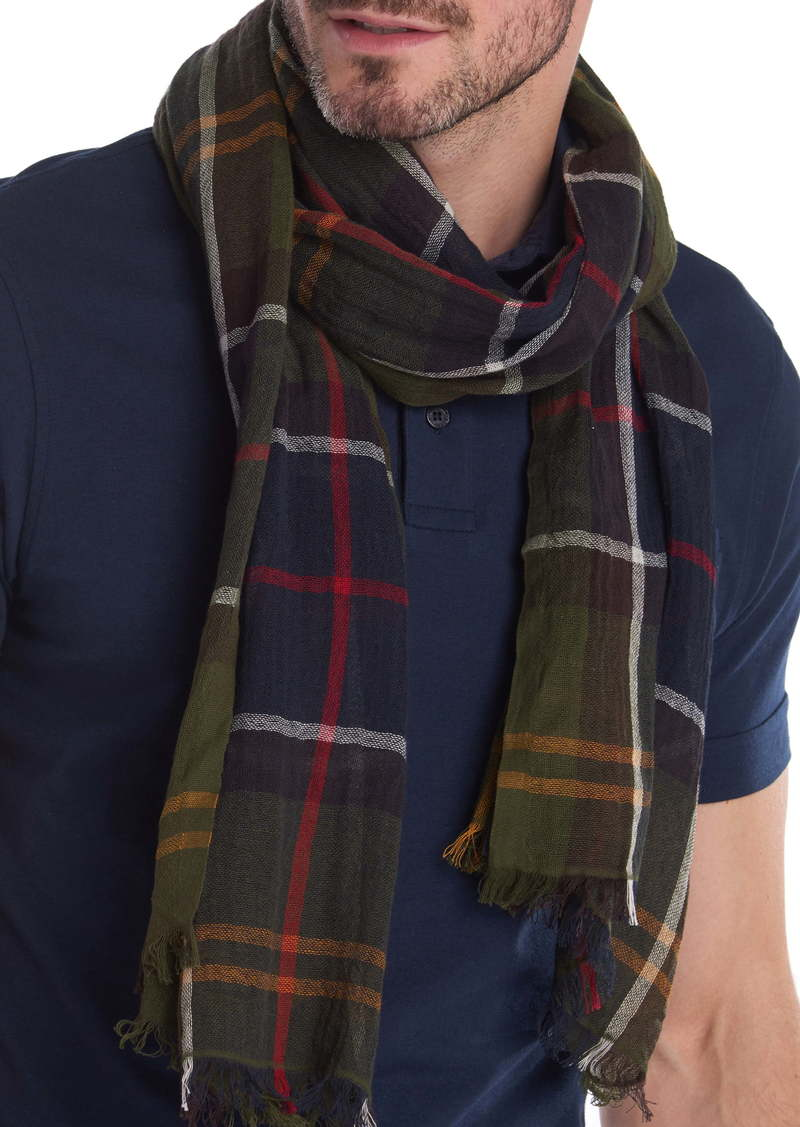 Barbour Welton Tartan Plaid Cotton & Linen Scarf