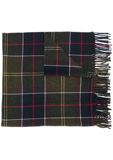 Barbour checked fringed scarf