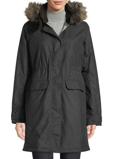 Barbour Galloway Waxed Jacket w/ Detachable Faux-Fur Hood