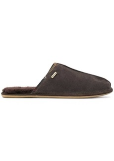 Barbour logo shearling slippers