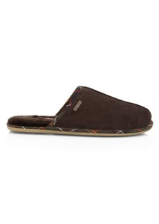 Barbour Malone Faux Fur-Lined Stretch Suede Slippers