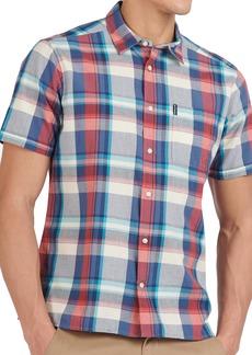 Men's Barbour Tailored Fit Madras Plaid Short Sleeve Button-Up Shirt