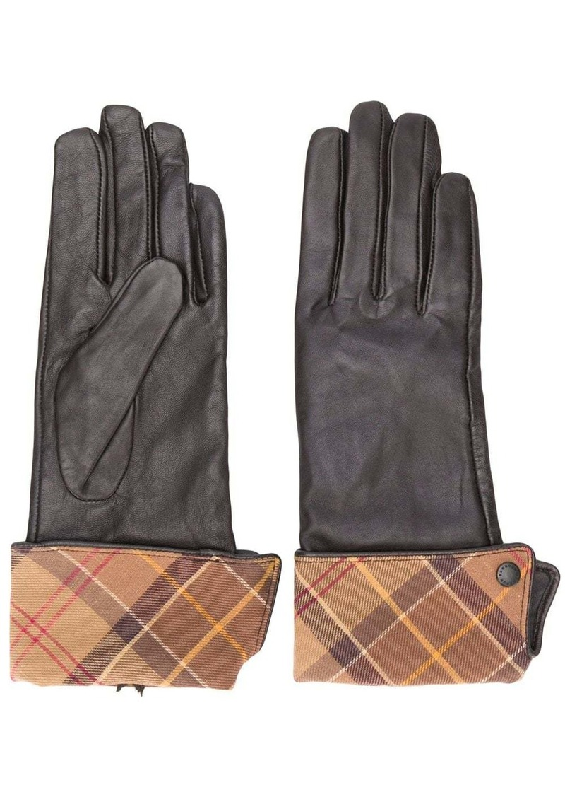 Barbour plaid-trim gloves