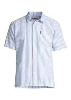 Barbour Seaside Summer Short-Sleeve Seersucker Striped Shirt