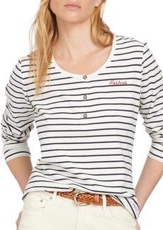 Women's Barbour Stripe Logo Stretch Cotton Top