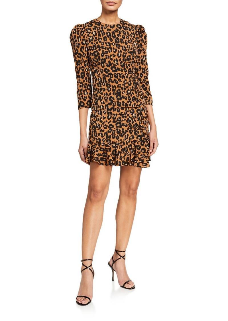 Bardot Ada Leopard Print Crepe Puff-Sleeve Dress