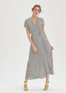 Bardot Adie Stripe Midi Wrap Dress
