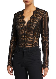 Bardot Annika Long-Sleeve Lace Bodysuit