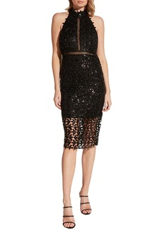Bardot Bardo Sequin Leaf Halter Cocktail Dress