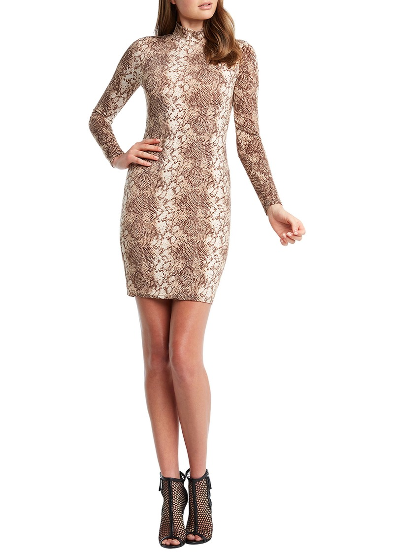 Bardot Bardo Snakeprint Long Sleeve Body-Con Dress