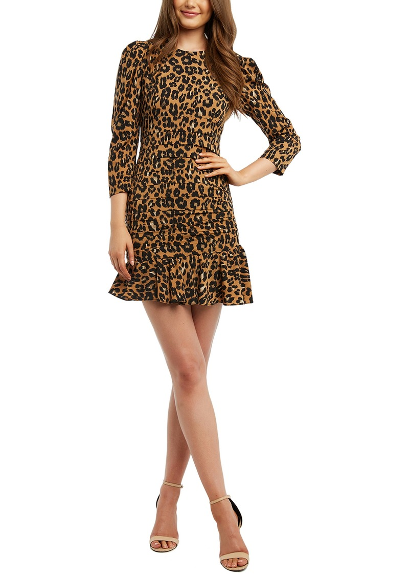 Bardot Ada Leopard Print Pleated Minidress
