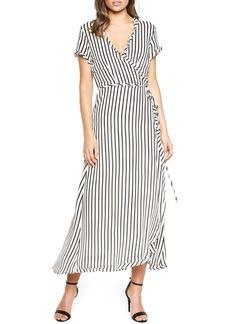Bardot Adie Stripe Midi Wrap Dress