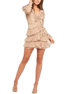 Bardot Alessia Floral Ruffle Long Sleeve Mini Dress
