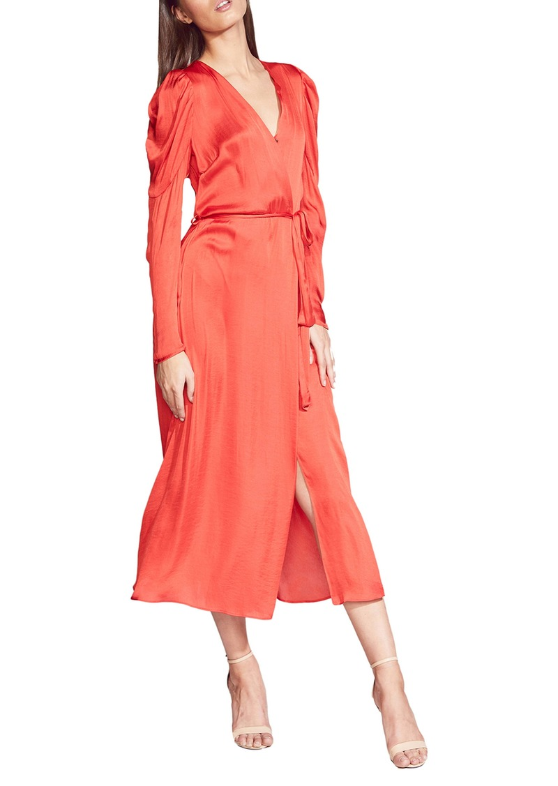 Bardot Alivia Long Sleeve Satin Faux Wrap Midi Dress