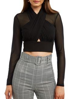Bardot Allure Long Sleeve Cutout Crop TopBardot Allure Long Sleeve Cutout Crop Top