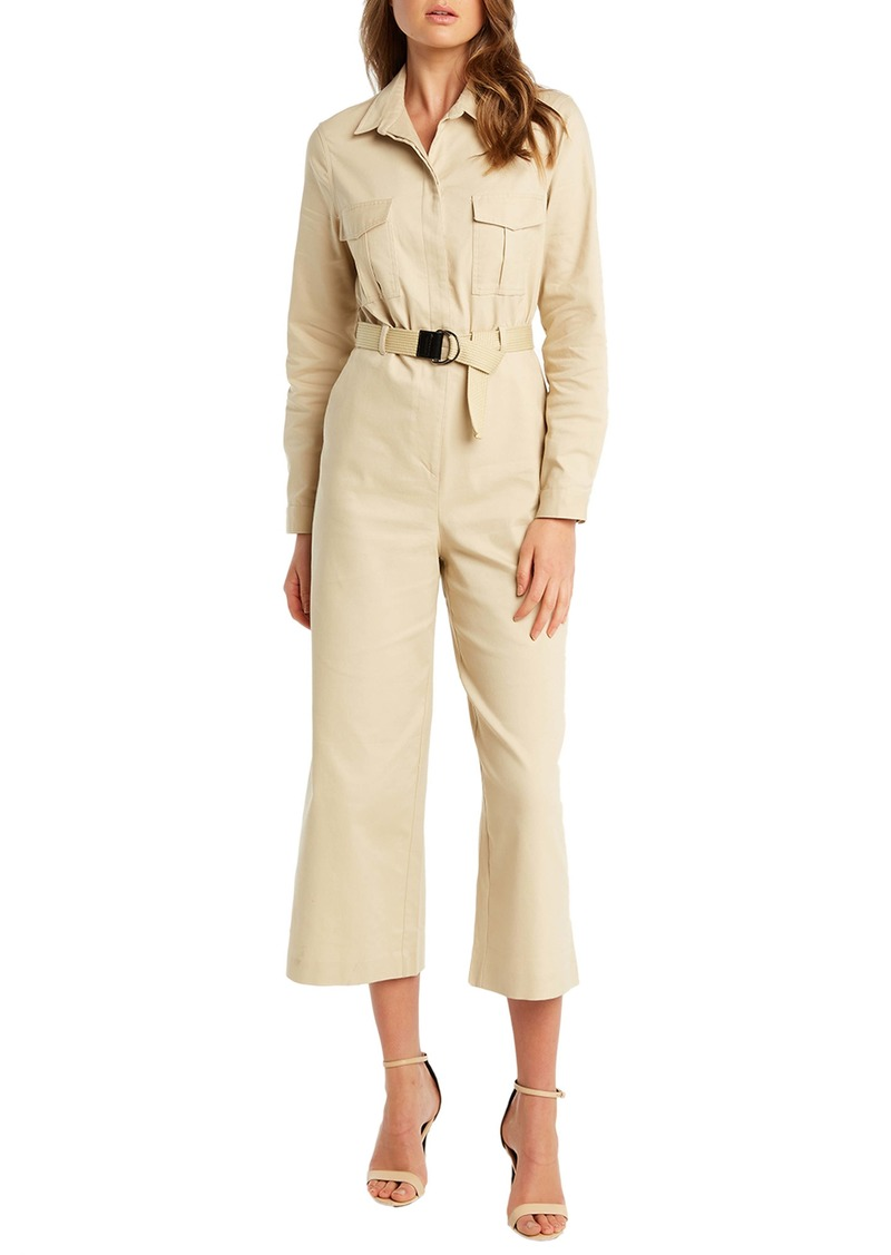 Bardot Ariana Long Sleeve Wide Leg Crop Boilersuit