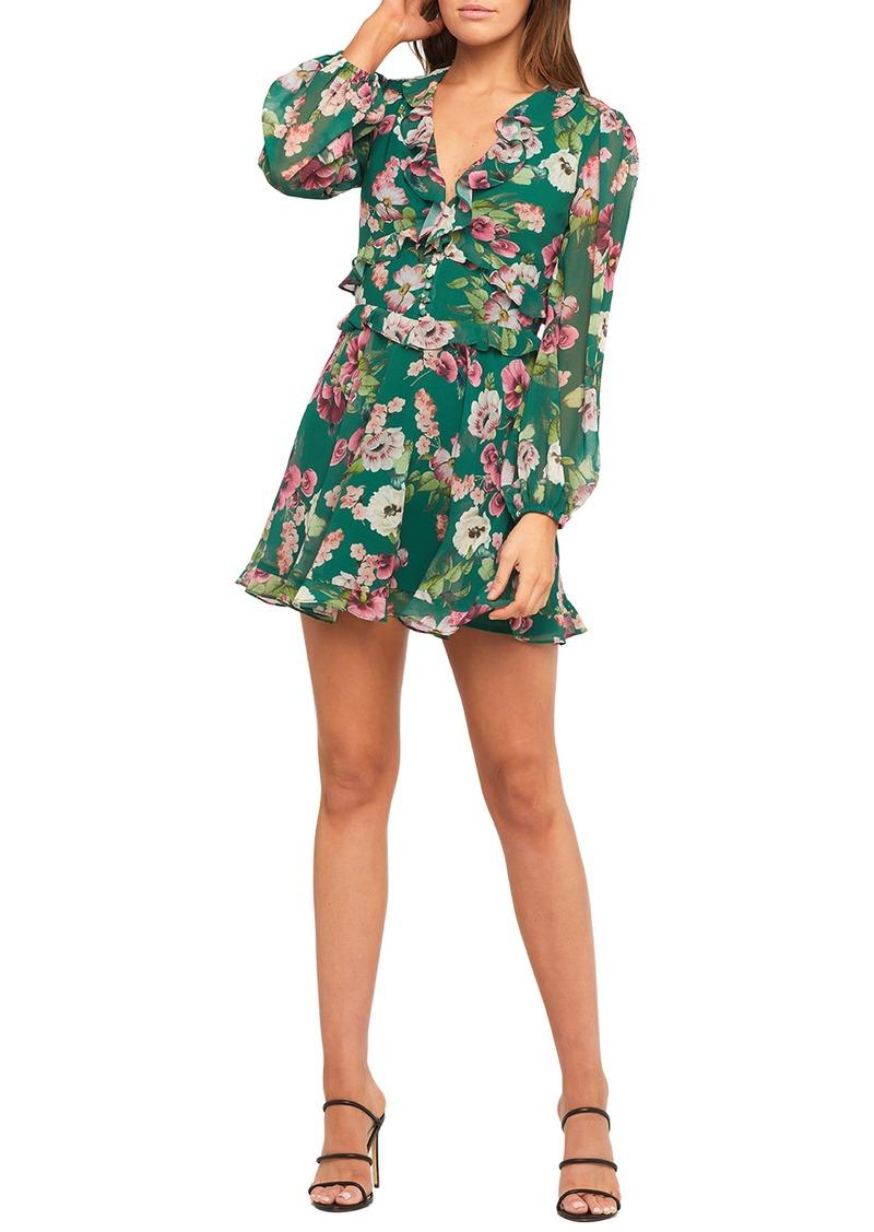 Bardot Bambi Floral Print Ruffle Long Sleeve Minidress