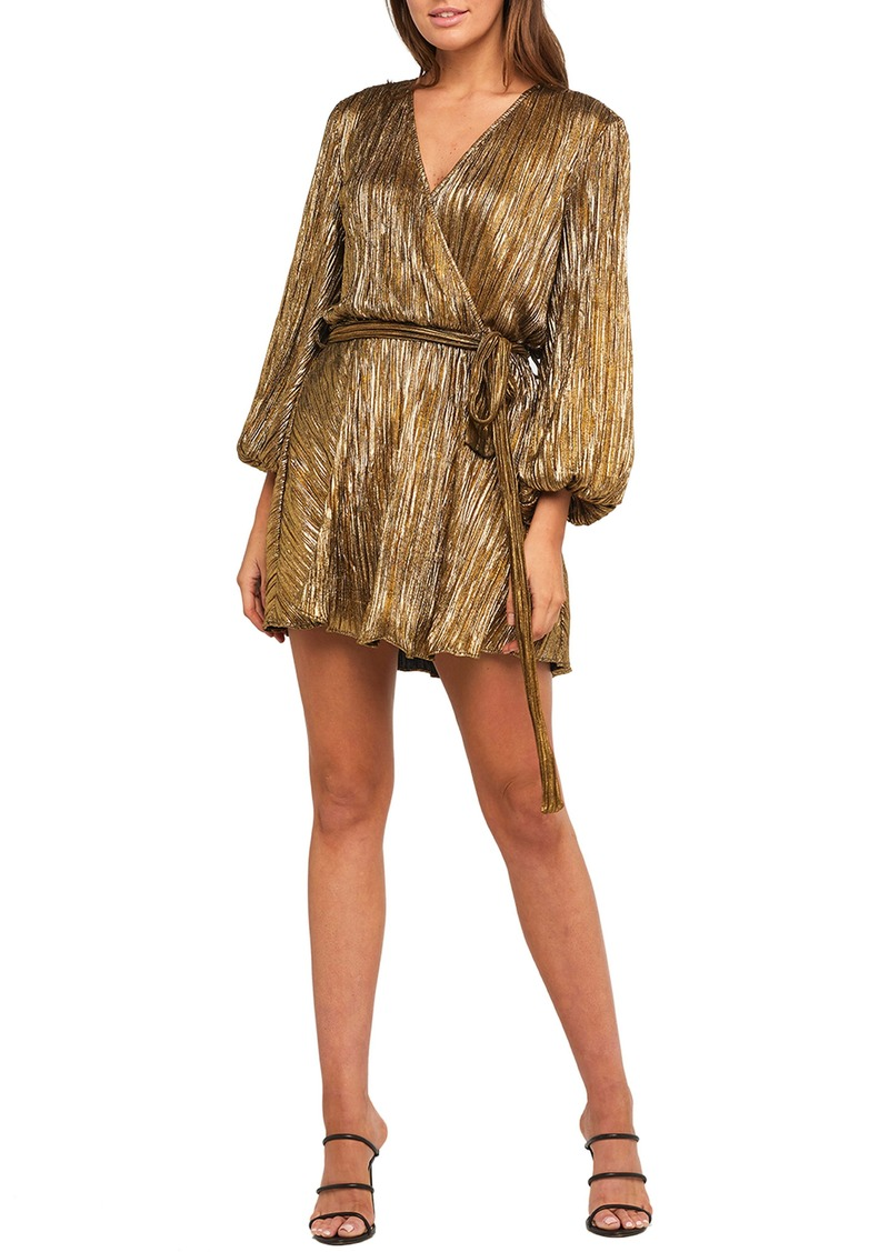 Bardot Bellissa Long Sleeve Faux Wrap Metallic Minidress