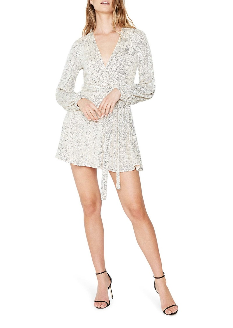 Bardot Bellissa Sequin Long Sleeve Faux Wrap Minidress