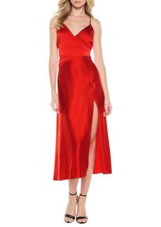 Bardot Blair Cross Back Satin Tea Length Dress