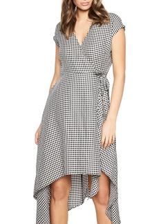 Bardot Check Asymmetrical Wrap Dress