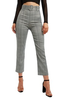 Bardot Check Print Belted Ankle Pants