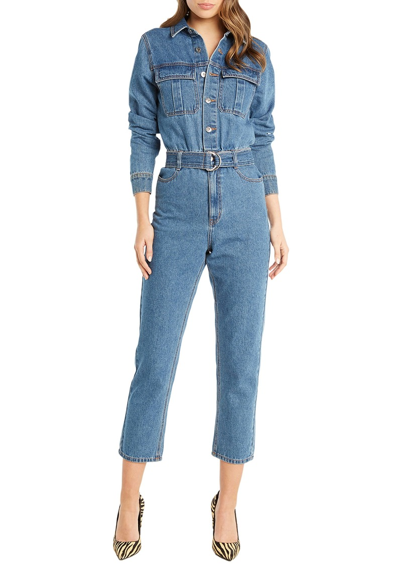 Bardot Classic Long Sleeve Denim Jumpsuit