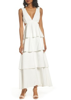 Bardot Cutout Detail Tiered Maxi Dress