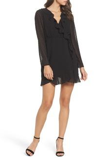 Bardot Dobby Faux-Wrap Dress