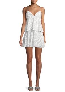 Bardot Dot-Print Sleeveless Tiered Mini Dress