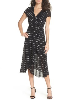 Bardot Dotted Faux Wrap Midi Dress
