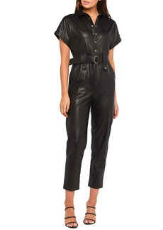 Bardot Faux Leather Belted Jumpsuit