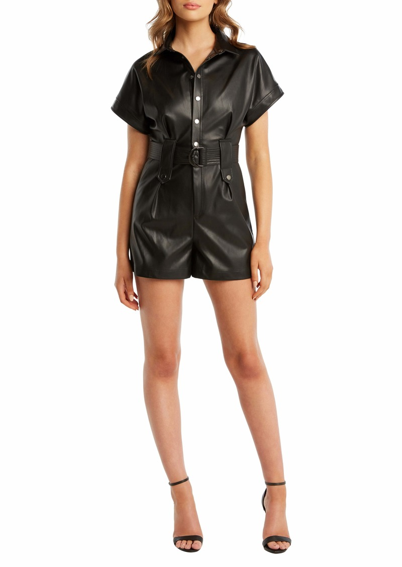 Bardot Faux Leather Belted Romper