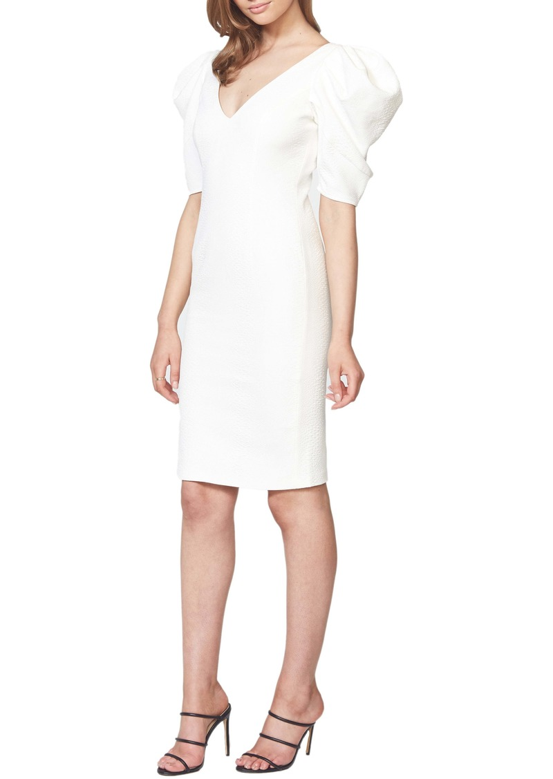 Bardot Fergie Puff Sleeve Jacquard Sheath Dress