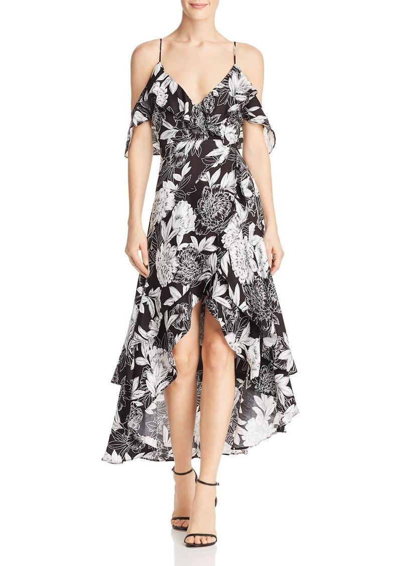 Bardot Floral Cold-Shoulder Faux-Wrap Dress