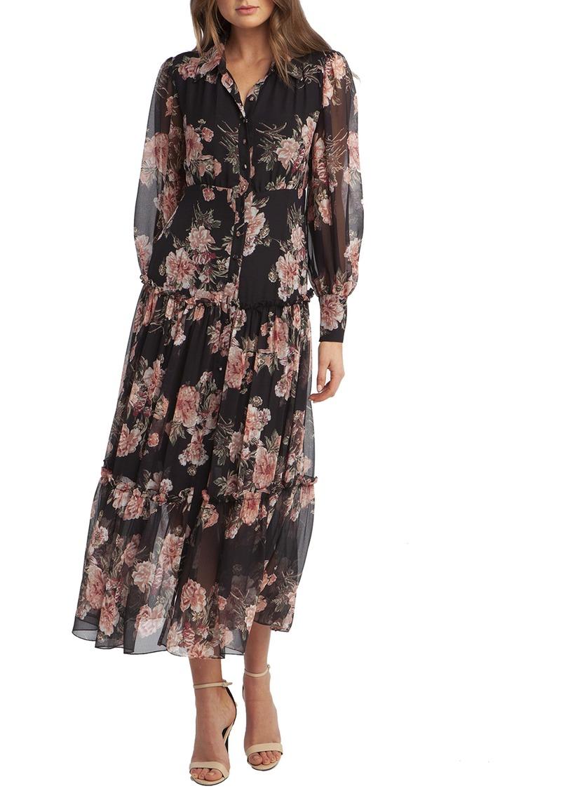 Bardot Floral Print Long Sleeve Chiffon Dress