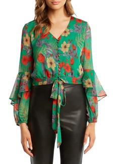 Bardot Floral Print Ruffle Sleeve Top