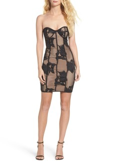 Bardot Flower Mesh Bustier Dress