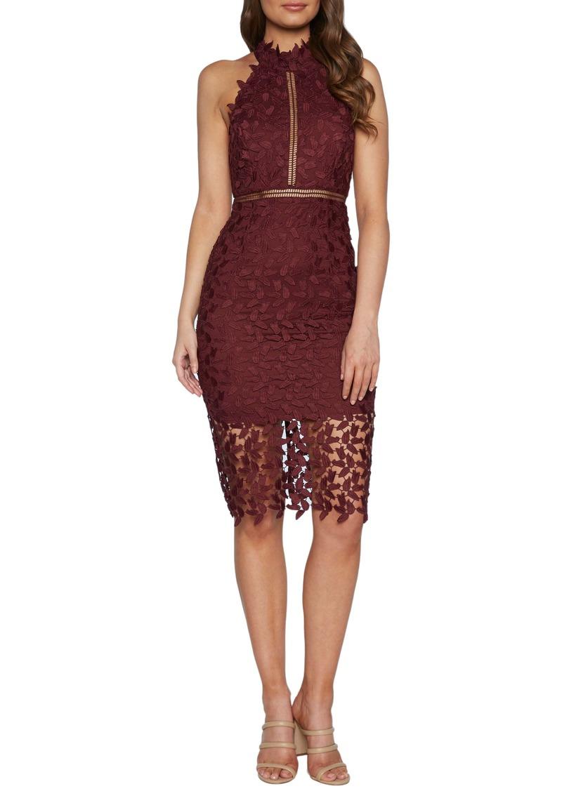 Gemma Halter Lace Sheath Dress
