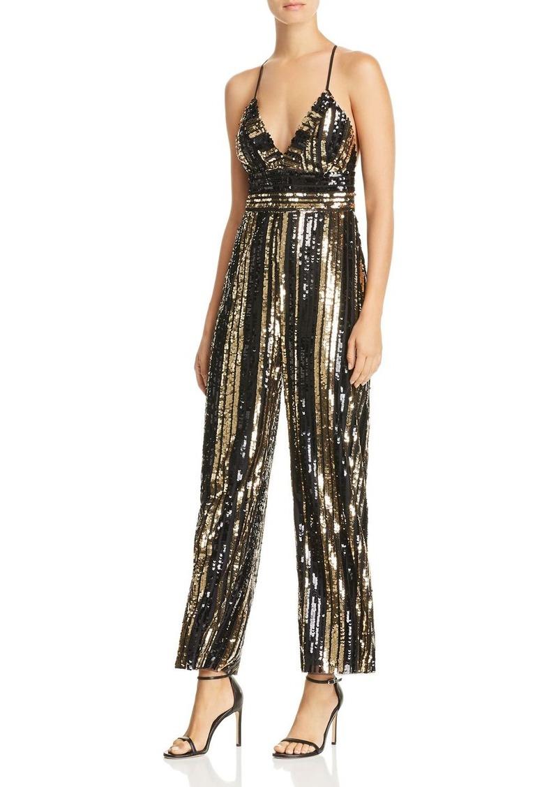 38bc6cef38df Bardot Bardot Goldie Sequin-Stripe Jumpsuit