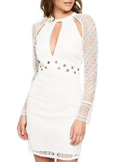 Bardot Grommet Detail Broderie Anglaise Dress