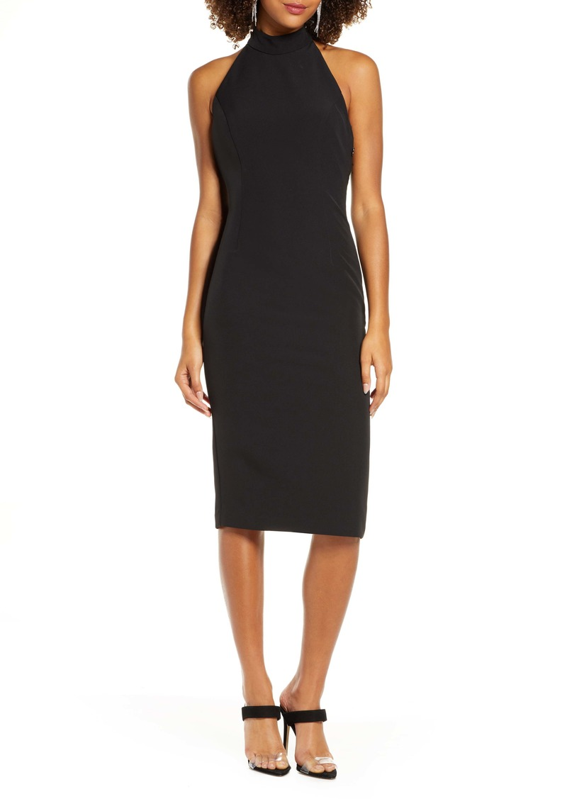 Bardot Jaden Bow Halter Sheath Cocktail Dress