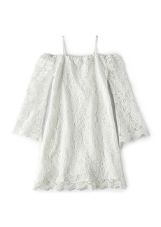 Bardot Junior Lace Bell Sleeve Dress in White. - size 5 (also in 6,7)