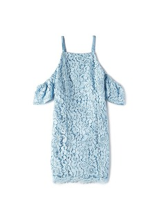Bardot Junior Scallop Lace Trim Dress in Baby Blue. - size 4 (also in 5,6)