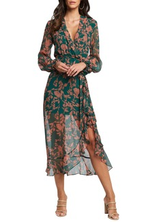 Bardot Justine Long Sleeve Floral Chiffon Dress