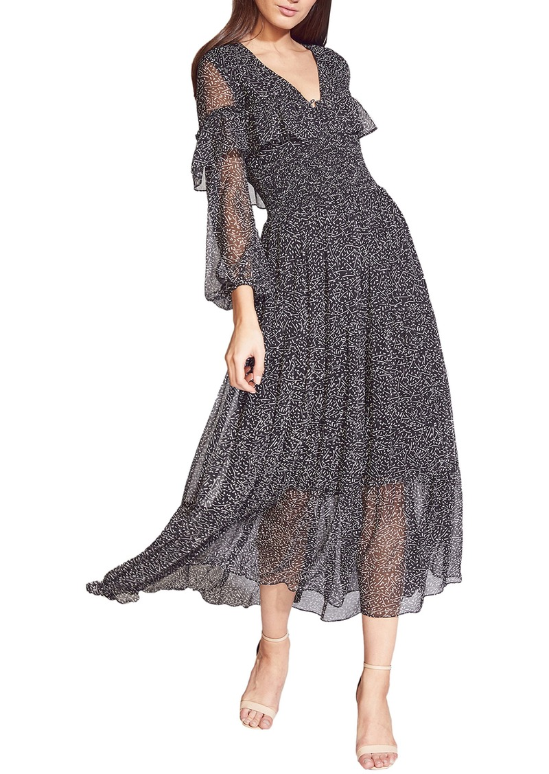 Bardot Kamila Print Long Sleeve Chiffon Dress