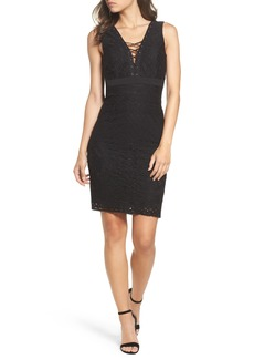 Bardot Lace-Up Detail Sheath Dress