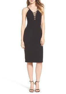 Bardot Lace-Up Midi Dress