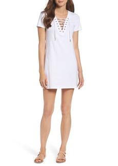 Bardot Lace-Up Shirtdress